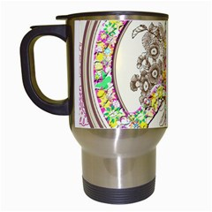Peace Logo Floral Pattern Travel Mugs (white) by Simbadda