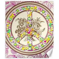 Peace Logo Floral Pattern Canvas 8  X 10  by Simbadda