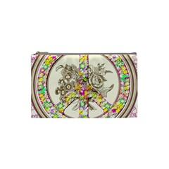 Peace Logo Floral Pattern Cosmetic Bag (small)  by Simbadda