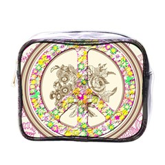 Peace Logo Floral Pattern Mini Toiletries Bags by Simbadda
