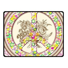 Peace Logo Floral Pattern Fleece Blanket (small) by Simbadda