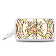 Peace Logo Floral Pattern Portable Speaker (white) by Simbadda