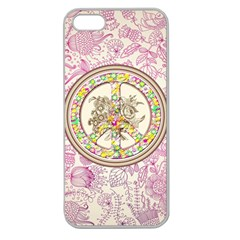 Peace Logo Floral Pattern Apple Seamless Iphone 5 Case (clear) by Simbadda