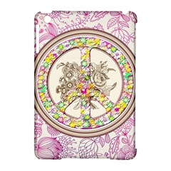 Peace Logo Floral Pattern Apple Ipad Mini Hardshell Case (compatible With Smart Cover) by Simbadda