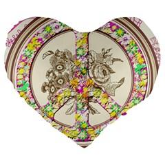 Peace Logo Floral Pattern Large 19  Premium Heart Shape Cushions by Simbadda