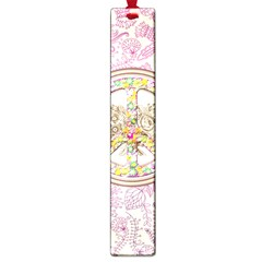 Peace Logo Floral Pattern Large Book Marks by Simbadda