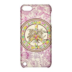 Peace Logo Floral Pattern Apple Ipod Touch 5 Hardshell Case With Stand by Simbadda