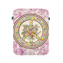 Peace Logo Floral Pattern Apple Ipad 2/3/4 Protective Soft Cases by Simbadda