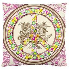 Peace Logo Floral Pattern Large Flano Cushion Case (one Side) by Simbadda