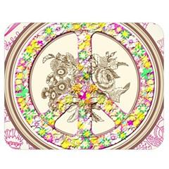 Peace Logo Floral Pattern Double Sided Flano Blanket (medium)  by Simbadda