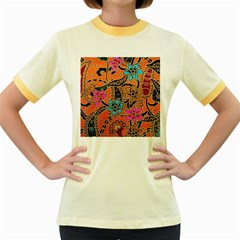 Colorful The Beautiful Of Art Indonesian Batik Pattern Women s Fitted Ringer T Shirts by Simbadda
