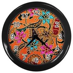 Colorful The Beautiful Of Art Indonesian Batik Pattern Wall Clocks (black)
