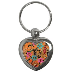 Colorful The Beautiful Of Art Indonesian Batik Pattern Key Chains (heart)  by Simbadda