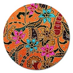 Colorful The Beautiful Of Art Indonesian Batik Pattern Magnet 5  (round) by Simbadda