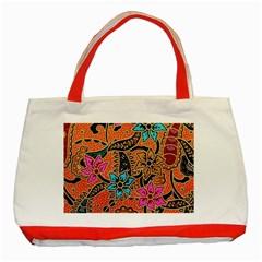 Colorful The Beautiful Of Art Indonesian Batik Pattern Classic Tote Bag (red) by Simbadda