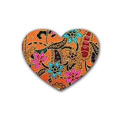 Colorful The Beautiful Of Art Indonesian Batik Pattern Rubber Coaster (heart)  by Simbadda