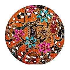 Colorful The Beautiful Of Art Indonesian Batik Pattern Round Filigree Ornament (two Sides) by Simbadda