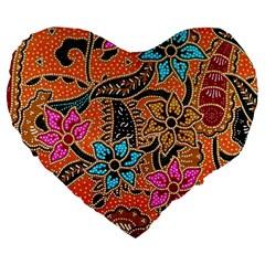 Colorful The Beautiful Of Art Indonesian Batik Pattern Large 19  Premium Flano Heart Shape Cushions by Simbadda