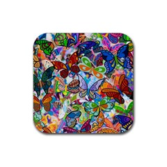 Color Butterfly Texture Rubber Square Coaster (4 Pack)  by Simbadda