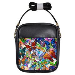 Color Butterfly Texture Girls Sling Bags by Simbadda