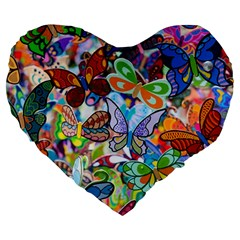 Color Butterfly Texture Large 19  Premium Heart Shape Cushions by Simbadda