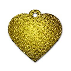 Patterns Gold Textures Dog Tag Heart (one Side) by Simbadda