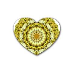 Fractal Flower Rubber Coaster (heart)  by Simbadda