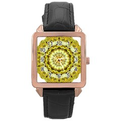 Fractal Flower Rose Gold Leather Watch  by Simbadda