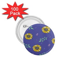 Floral Flower Rose Sunflower Star Leaf Pink Green Blue Yelllow 1 75  Buttons (100 Pack)  by Alisyart