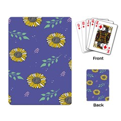 Floral Flower Rose Sunflower Star Leaf Pink Green Blue Yelllow Playing Card by Alisyart