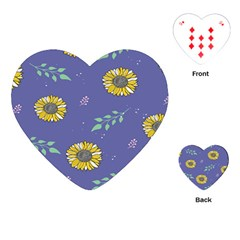 Floral Flower Rose Sunflower Star Leaf Pink Green Blue Yelllow Playing Cards (heart)  by Alisyart
