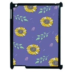 Floral Flower Rose Sunflower Star Leaf Pink Green Blue Yelllow Apple Ipad 2 Case (black) by Alisyart