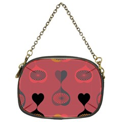 Heart Love Fan Circle Pink Blue Black Orange Chain Purses (two Sides)  by Alisyart