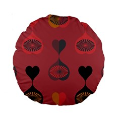 Heart Love Fan Circle Pink Blue Black Orange Standard 15  Premium Round Cushions by Alisyart
