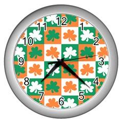 Ireland Leaf Vegetables Green Orange White Wall Clocks (silver)  by Alisyart