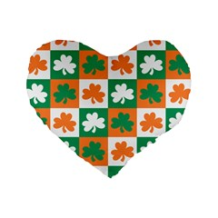 Ireland Leaf Vegetables Green Orange White Standard 16  Premium Heart Shape Cushions by Alisyart