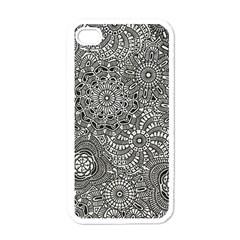 Flower Floral Rose Sunflower Black White Apple Iphone 4 Case (white) by Alisyart