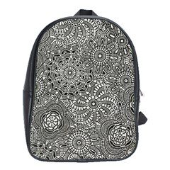 Flower Floral Rose Sunflower Black White School Bags (xl)  by Alisyart