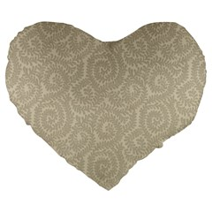 Leaf Grey Frame Large 19  Premium Flano Heart Shape Cushions by Alisyart