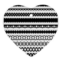 Love Heart Triangle Circle Black White Ornament (heart) by Alisyart