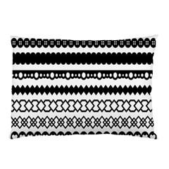 Love Heart Triangle Circle Black White Pillow Case by Alisyart