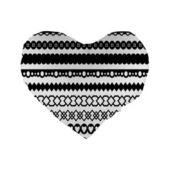 Love Heart Triangle Circle Black White Standard 16  Premium Heart Shape Cushions by Alisyart