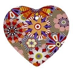 Flower Floral Sunflower Rainbow Frame Ornament (heart) by Alisyart