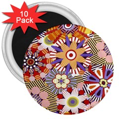 Flower Floral Sunflower Rainbow Frame 3  Magnets (10 Pack)