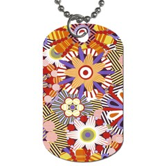 Flower Floral Sunflower Rainbow Frame Dog Tag (two Sides) by Alisyart