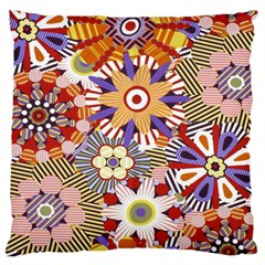 Flower Floral Sunflower Rainbow Frame Large Flano Cushion Case (two Sides) by Alisyart