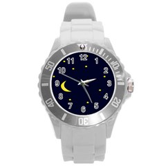 Moon Dark Night Blue Sky Full Stars Light Yellow Round Plastic Sport Watch (l) by Alisyart