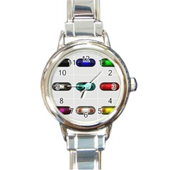 9 Power Button Round Italian Charm Watch by Simbadda