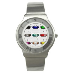 9 Power Button Stainless Steel Watch by Simbadda