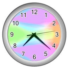 Abstract Background Colorful Wall Clocks (silver)  by Simbadda